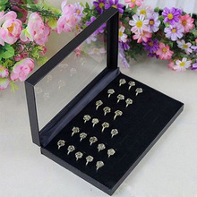 Rings Box for retailer PVC Simple Jewelry Box Rings Showcase Display Case Box Storage Holder Organiser Color Black