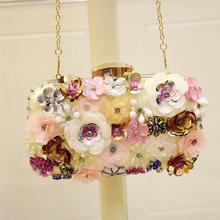 European and American fashion Creative handmade DIY Three-dimensional flowers sequins beautiful Shoulder Messenger Evening Bags