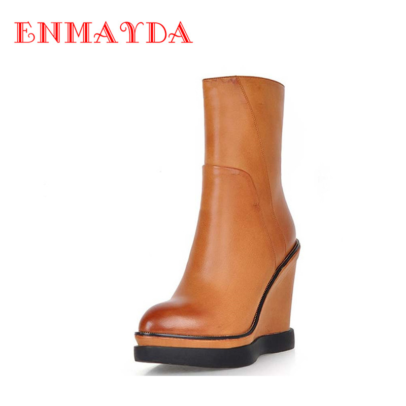 ENMAYDA New Arrival Women Boots Pointed Toe High Heels Platforms Fashion Ankle Boots Zip Sexy Shoes 3 Colors Motorcycle Boots<br><br>Aliexpress