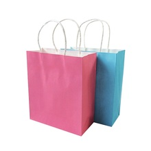 1 Pcs/lot Natural Kraft Paper Bag With Handle Environmental Protection Bag 2 Color Multi-function Cute Gift Bag 18*21*8cm
