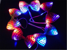 30PCS Halloween Christmas Wedding Party Glowing tie light up toy Female/Male flashing led bow tie dancing stage decoration