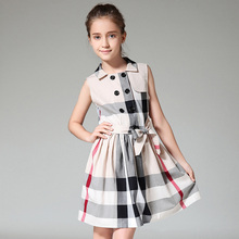 teenage girls dresses summer 12 years british style grid gowns children costumes for girl clothes 13Y fashion clothing for teens