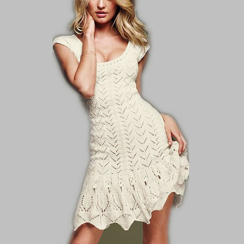 2017 Women Dress Victo brand high quality knitted dresses o neck pullover cutout crotch cotton thick needle sweater dress Nice(China (Mainland))