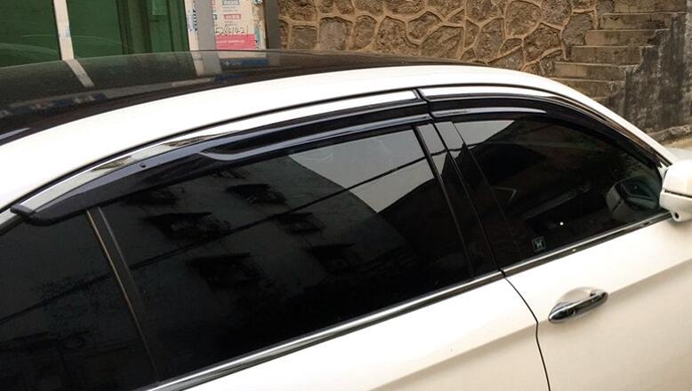 For Acura TSX 2004-2008 Window Visor Sun Guard Outside Mount Light Grey 4pcs