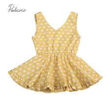 Heart Yellow/Red 2017 New Toddler Kids Baby Girl Floral Summer Party Dress Sundress Clothes(China)