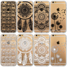 2017 New Black and White Floral Paisley Flower Mandala Phone Case Cover For Apple iPhone 6 6s Case Retro Fashion Fundas Celular