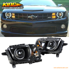 For 2010-2013 12 Chevy Camaro CCFL Halo Projector Headlights Head Lamps Light Black Pair US Domestic Free Shipping
