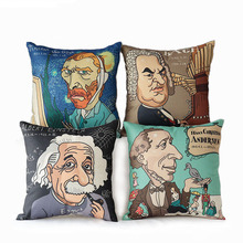 "New Arrival 17"" Famous Scientist Printed Pillow Cover Home Art Decorative Van Gogh/Einstein/J.S.Bach/Andersen Pillow CushionCase"
