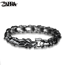 ZABRA 925 Sterling Silver Luxury Cool Dragon Bracelet for Men Vintage Steampunk Rock Biker Male Hand Jewelry Customize Length
