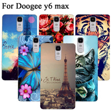 Painting flower owl and Eiffel Towers Patterns design Cover Case For Doogee Y6 Max 6.5'' phone protect cover For Doogee Y6 Max