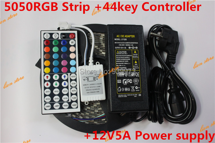 Waterproof 5050 RGB LED Strip 5M 300 Led SMD 44 Keys IR Remote Controller 12V 5A Power Adapter Flexible Light  Free Shipping<br><br>Aliexpress