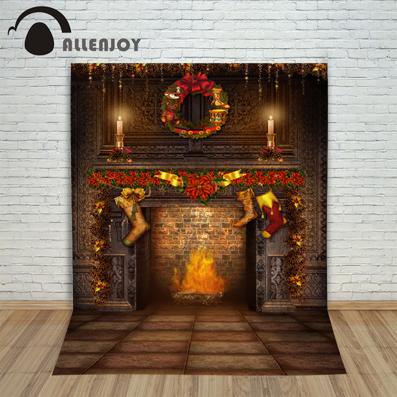 Christmas background photography studio Fireplace Fire Wreath Socks child new Year decoration 10x10ft fond studio noel new Year<br><br>Aliexpress