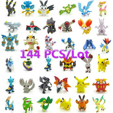Free Shippinng 144pcs Pikachu Pokeball   2-3cm Different Style Mini  Cartoon Figure Pocket Monster Toys  Mixed Orders