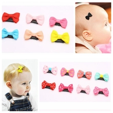 10Pcs/lot Hand-Sewing Solid Dot Infant Baby Small Bow Hair Clips boutique barrettes for children girls Kids Hair Accessories A19
