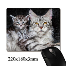 Mother cat with baby kitten image printed Heavy weaving anti-slip rubber pad office mouse pad Coaster Party favor 220x180x3mm(China)