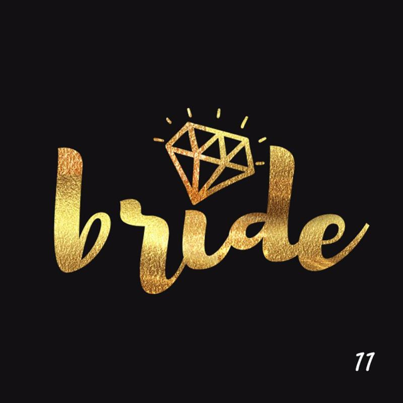 5Pcs/lot Flash Bride Tribe Temporary Tattoo Sticker Bachelor Party Bridesmaid Wedding Party Body Art Glitter Tattoo Decals Y2 7