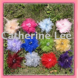 Free shipping!14colors for your pick 51/2'' tulle flower with feather  brooch pin hair alligator clip