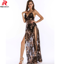 Luxury Sexy Women Empire Long Sequins Dress See Through V-neck High Split Nightclub Party Dresses Maxi Bodycon Vestidos 2017 New(China)