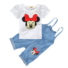2Pics TShirt+ Overalls Summer baby girls clothing sets cartoon children's cotton casual kids clothes sports suit  factory outlet