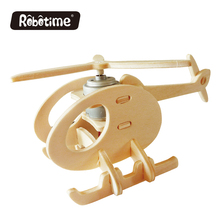 Robotime Solar Energy 3D Wooden Puzzle Handmade Gifts Building Plane Model Assembled Toy Car Front Decoration Helicopter P230(China)