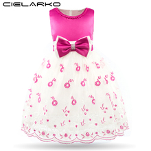 Cielarko Girls Dress Flower Embroidery Kids Lace Gown Children Wedding Party Dresses Bowknot Baby Frocks Vestidos for Girl(China)