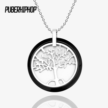 New Black White Ceramic Round Pendant Necklaces For Women With Free 40cm Chain Stainless Steel Hollow Life Tree Ceramic Jewelry(China)