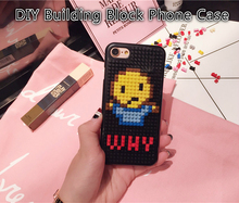 Coque Emoji Cute Cartoon Why Face Back Cover DIY Building Block Brick Puzzle PC Hard Phone Case For iPhone 6 6S 7 Plus