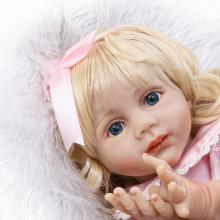 NPK 60CM Silicone Babies Doll 24 Inch Lifelike Soft Reborn Baby Toddler Dolls Blond hair wig pink dress  bonecas kids