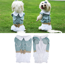 Lovely Dog Denim Skirt Cotton Layered Dress Teddy Bear Princess Dress Spring/Summer Party Clothing Dog Clothes 1PCS  Newest 2016
