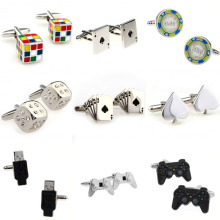 Magic Cube Cards Dice Game Handle USB Cufflink Cuff Link 1 Pair Big Promotion