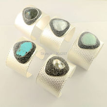 For Women 5Pcs Silver Color Bangles,Natural Labradorite Shell Pearl Amazon with Pave Rhinestone Jewelry Bangles