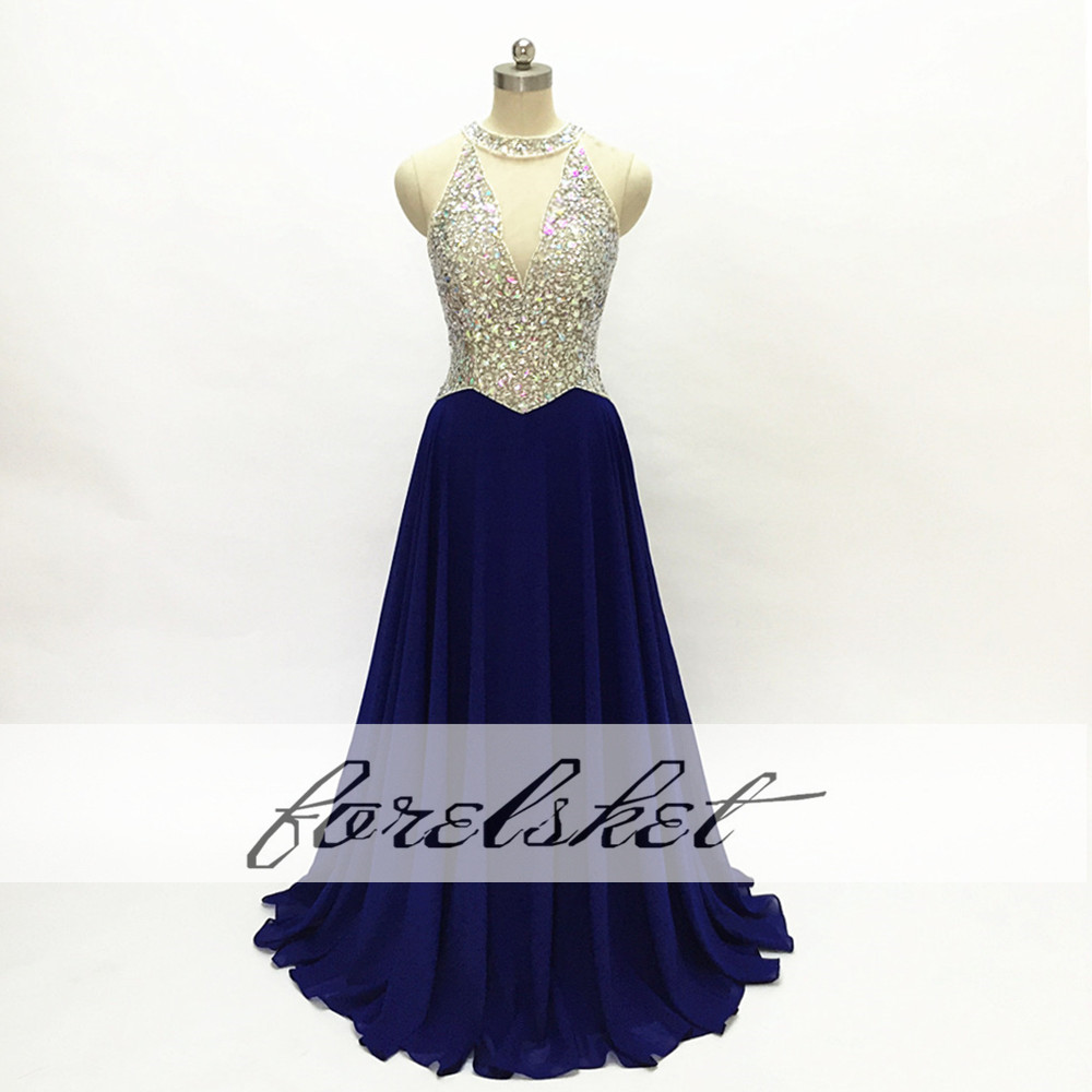 2017 New Navy Blue Red Halter Prom Dresses Stunning Beading Sexy Sheer Corset Royal Blue Backless Long Evening Dress Luxurious