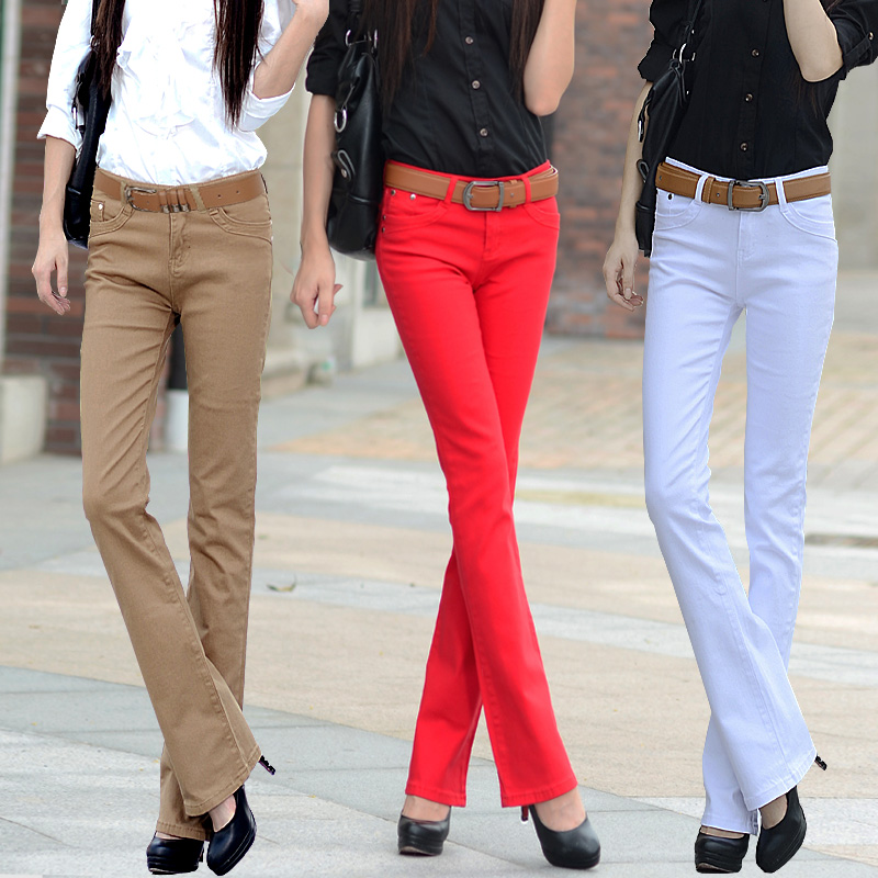 free shipping long pant candy color elastic  jeans female trousers slim boot cut casual pants womenОдежда и ак�е��уары<br><br><br>Aliexpress