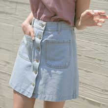 Simple and stylish front button large pocket denim skirts Slim A word