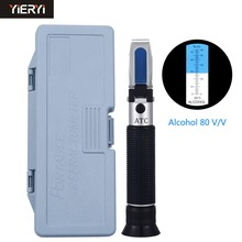 yieryi Portable Refractometer Design For Liquor Alcohol Content Tester 0-80% V/V ATC Refractometer With The Retail Box(China)
