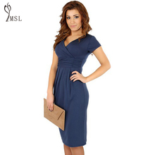 40%N8041ZSM Wear To Work Office Party Cocktail Women Plus Size Midi Dress Summer V-neck Short Sleeve Slim Casual Vestidos