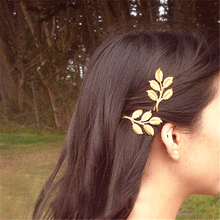 Women Special store fashion gold alloy leaf shape barretes Indian hair clip jewelry(China)