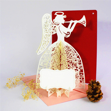 Postcard Greeting Gift Cards Angel play music 3D Pop Up Greeting Card Birthday Christmas Valentine Anniversary Invitation