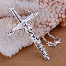 New Ladies Men's Sterling Silver Cross Chain Crucifix Jesus Necklace Pendant Transparent(China)