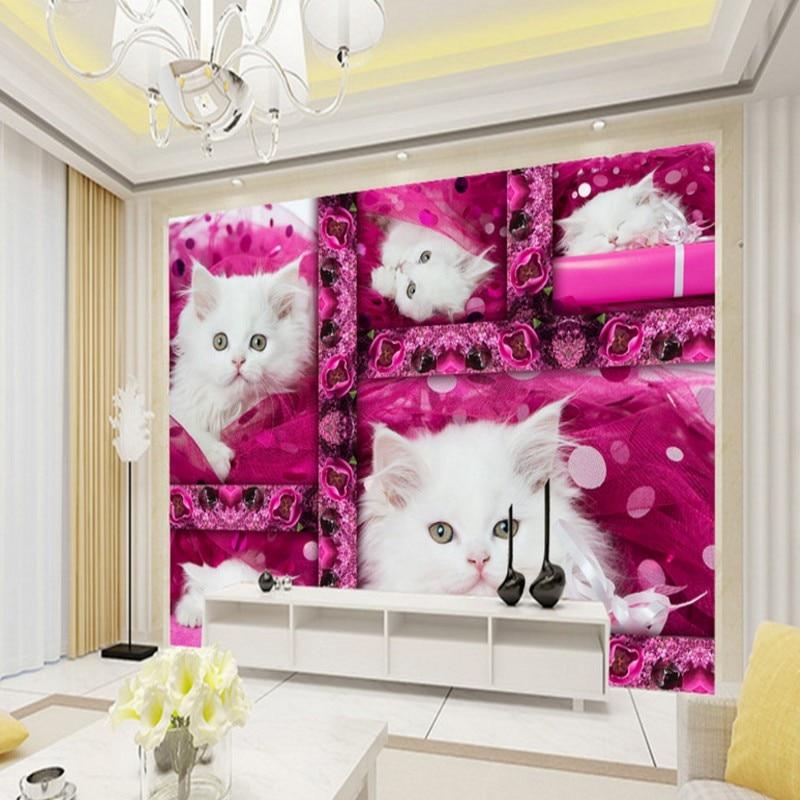 Cute kitten boudoir TV backdrop lobby bedroom office wallpaper restaurant custom 3D stereo theme hotel bathroom mural<br><br>Aliexpress