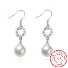 Hot Selling Elite Round Pearl Earrings In Sterling Silver Best Sellers Of Women Fashion Earrings 2017 Jewelry Accessories(China)