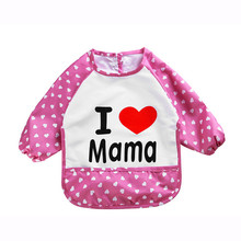 Hot New Children Baby Todders Waterproof Long Sleeve Art Smock Bibs Apron Letter Printed Feeding bebes baberos bavoir clothing