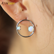 Gold silver color Big circle 2017 autumn new design round shape with opal stone fashion women ladies simple geometric earring(China)