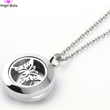 AB 20MM Butterfly Aromatherapy Pendant Diffuser Stainless Steel Fragrant Oil Necklace Round Silver Aroma Pendant SS-005(China)