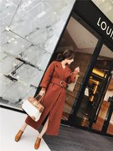 (send belt) Winter Coat Women Warm Wool Coat Long Women's Cashmere Coat European Fashion Jacket Outwear