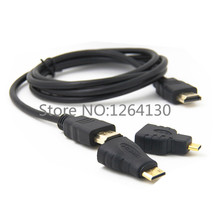 3 in 1 HDMI to HDMI Mini HDMI Micro HDMI Cable V1.4 Gold-plating Adapter Converter for Xbox 360 HDTV 1080P 1M/1.5M/3M/5M/10M(China)