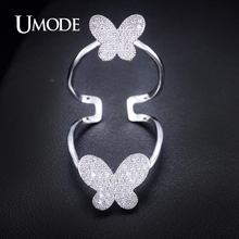 UMODE Newest Issued Long Finger Ring for Women Double Butterfly Big Ring with Top Quality Paved CZ Stone Girl's Ring UR0060B