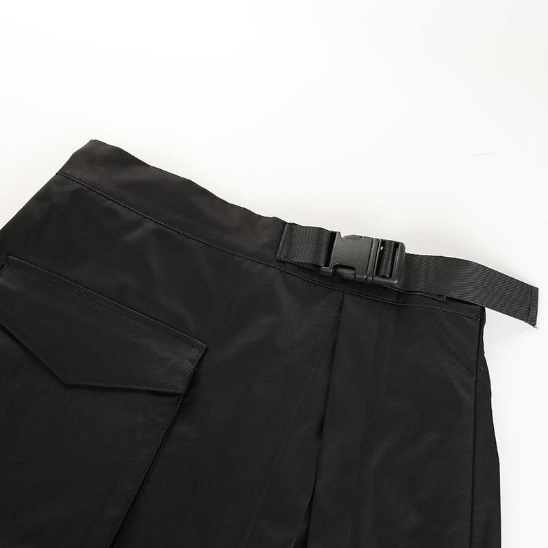13Sweetown Black Korean Style Women Skirt Womens Vogue Belt High Waist Short Skirts Woman Sexy Cotton Split Side Summer 2018 Skirt