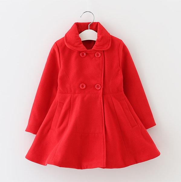2017 new autumn and winter children Girls solid woolen coats children s clothing medium - sized wool coat long paragraph<br><br>Aliexpress