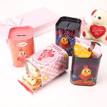 Free ship!1lot=8pc!New model cute chick multi functional iron tin pen holder /pencil container/ Piggy Bank/Iron box